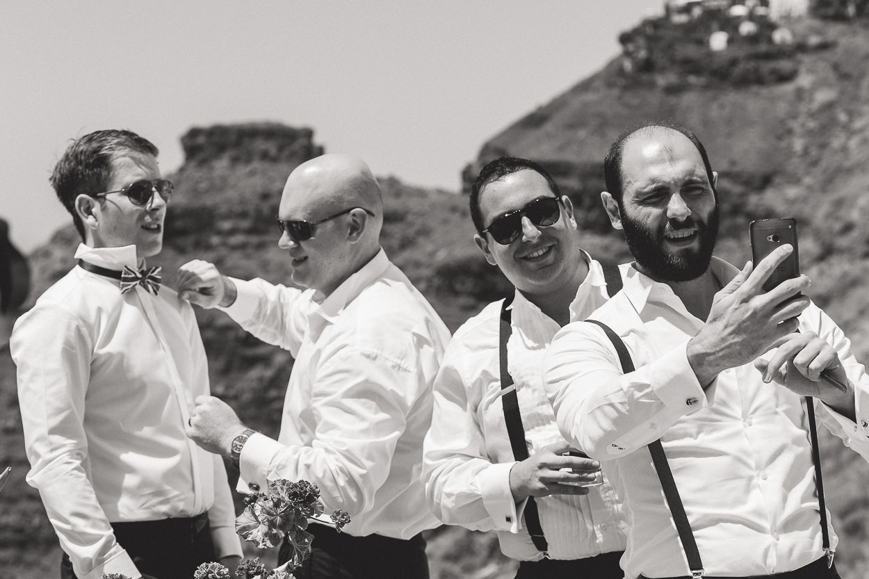 groom and best men santorini dana villas