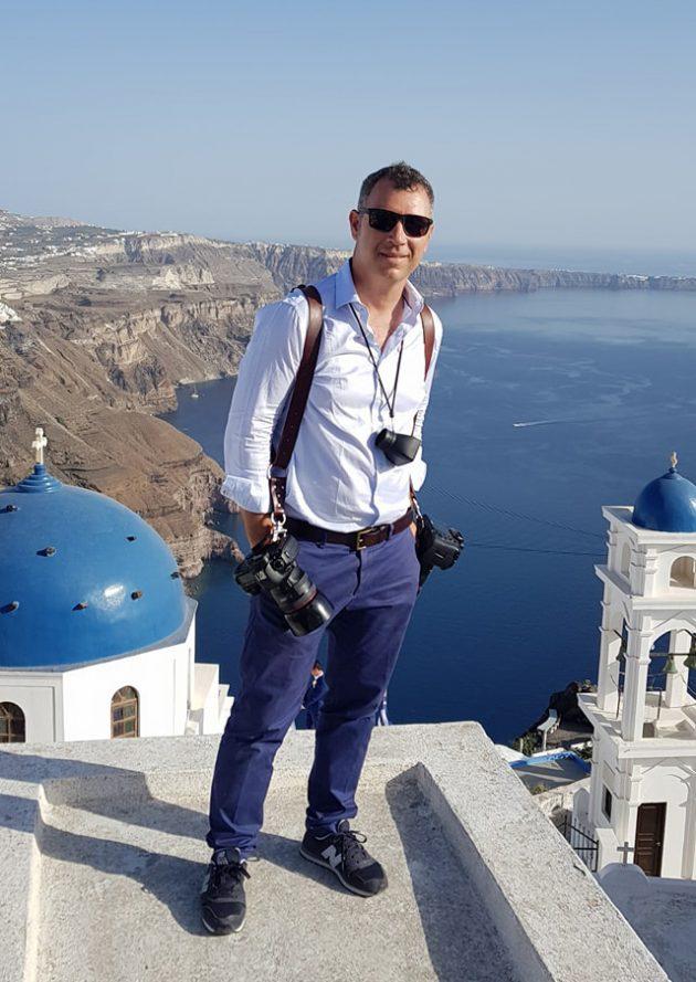the best Santorini wedding photographer Vangelis