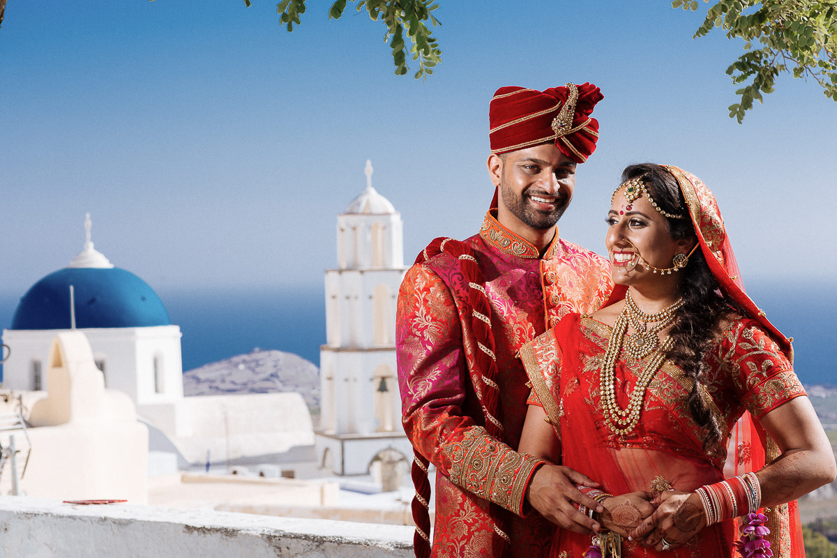 indian couple wedding greece