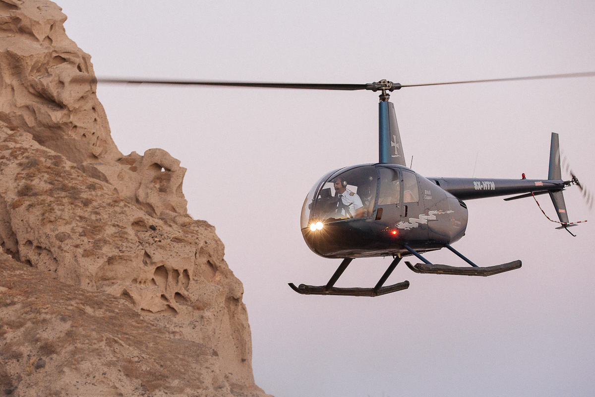 Santorini wedding helicopter
