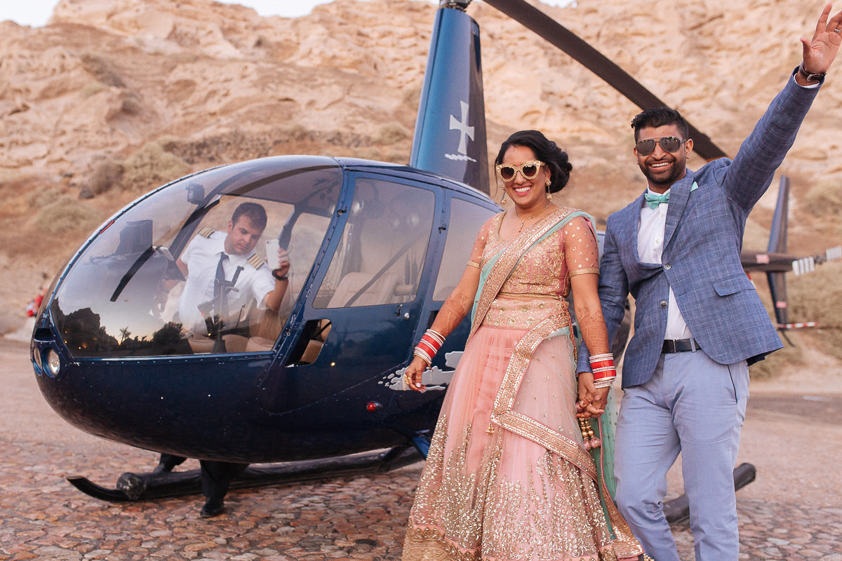 indian wedding santorini helicopter ride