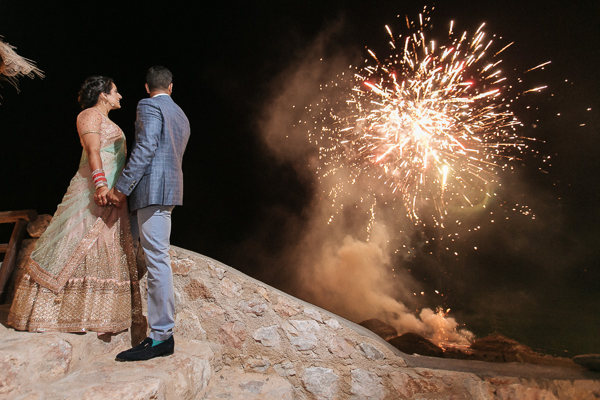 fireworks during Santorini wedding