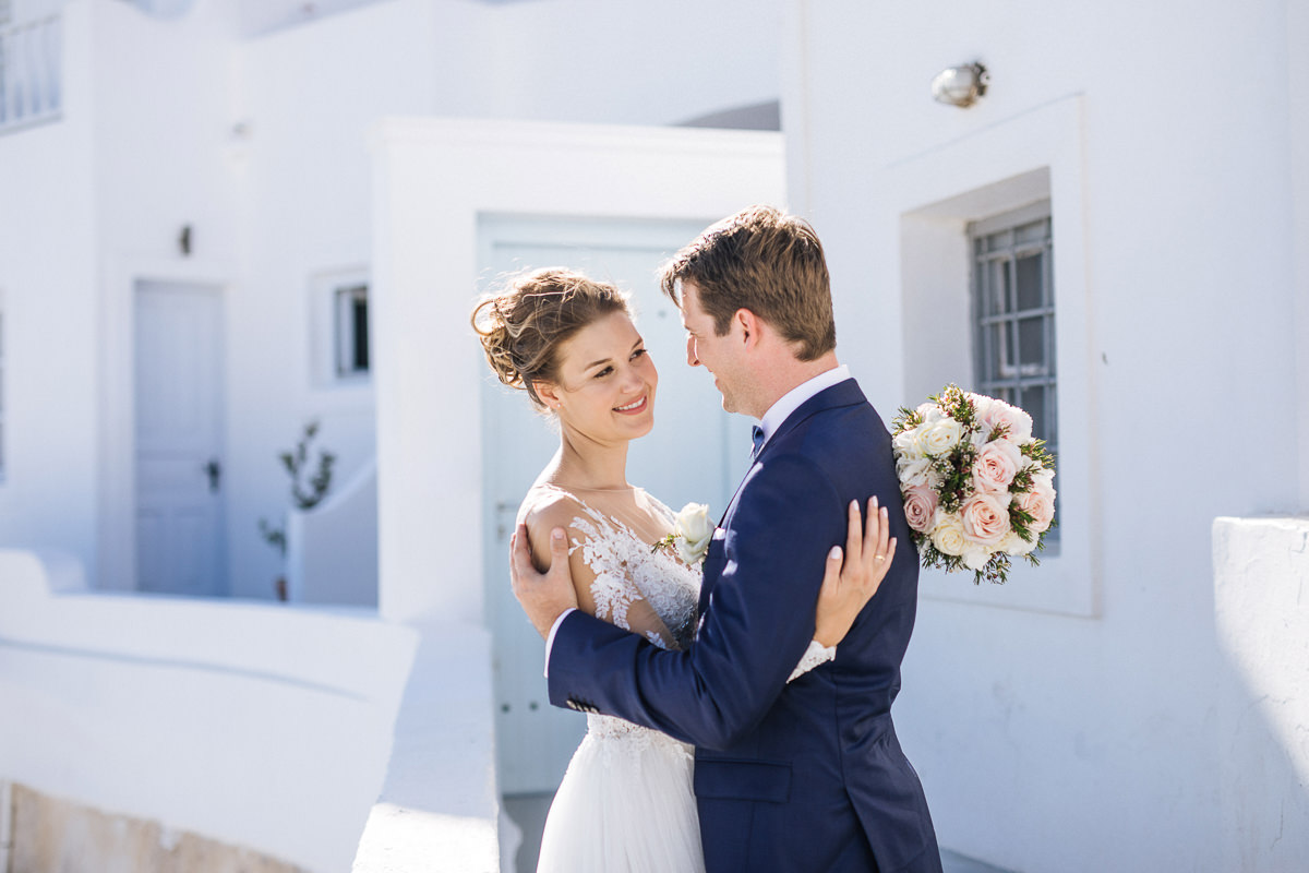 elegant santorini wedding photos