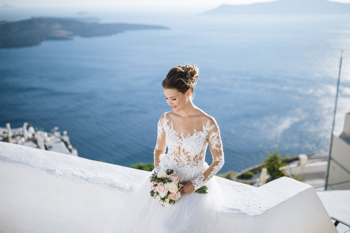 elegant bride santorini wedding