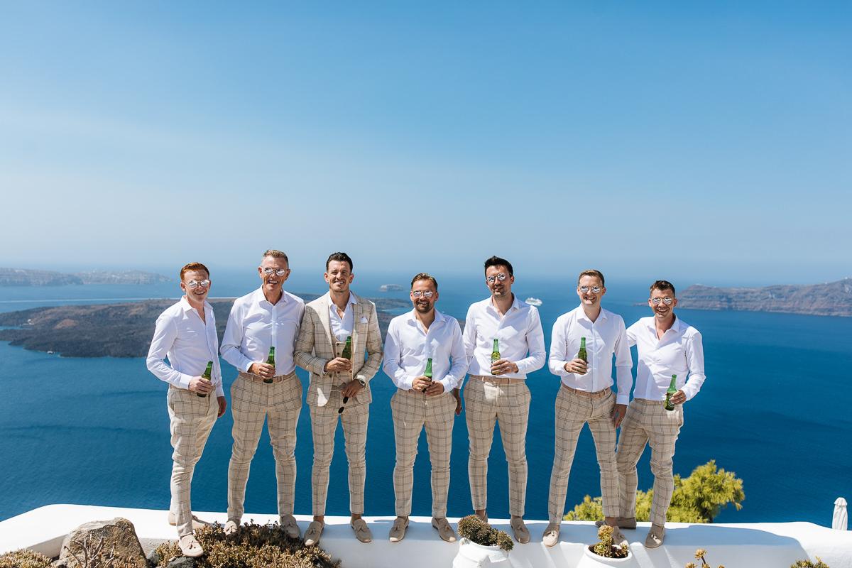 Santorini groom groomsmen
