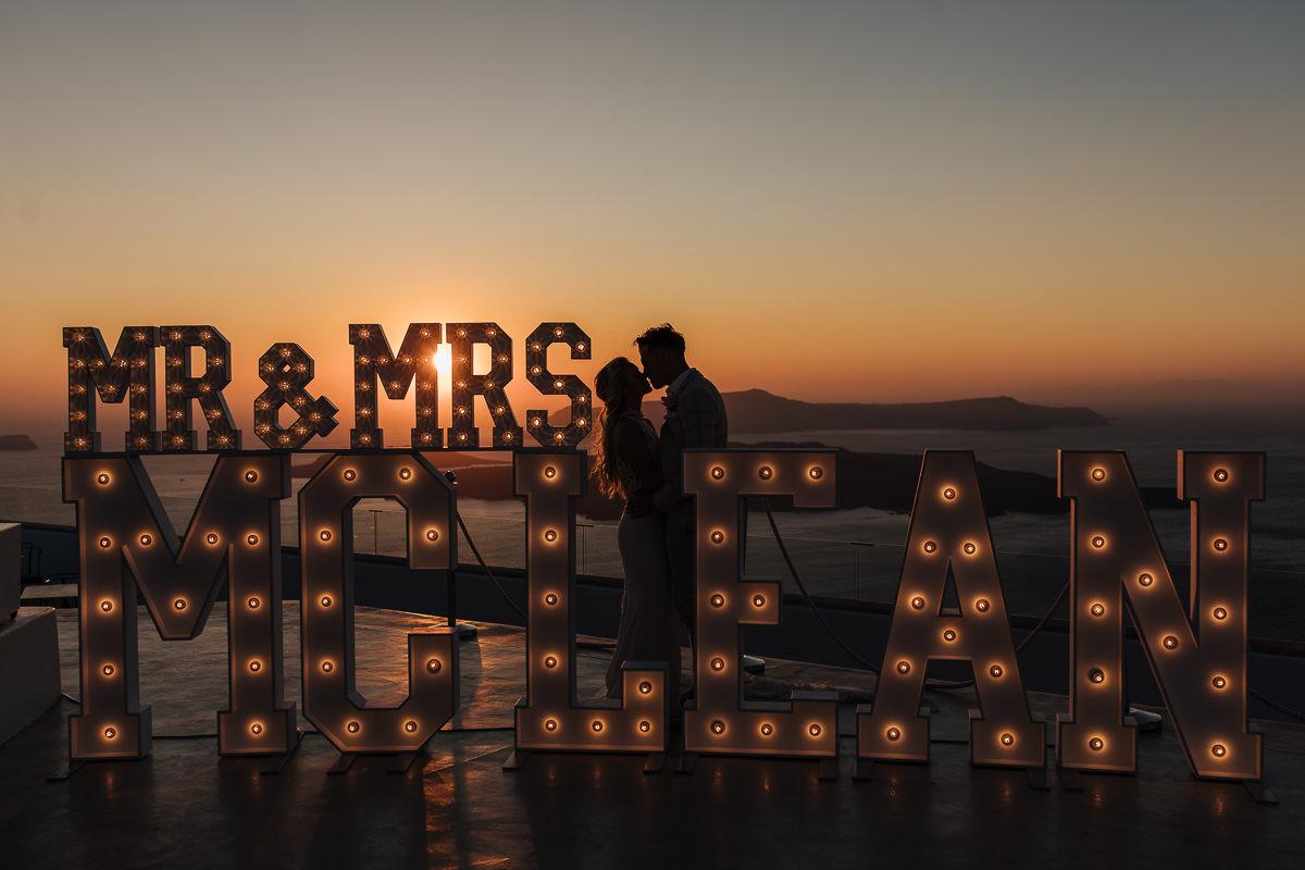 wedding at santorini gem illuminated letters illuminography