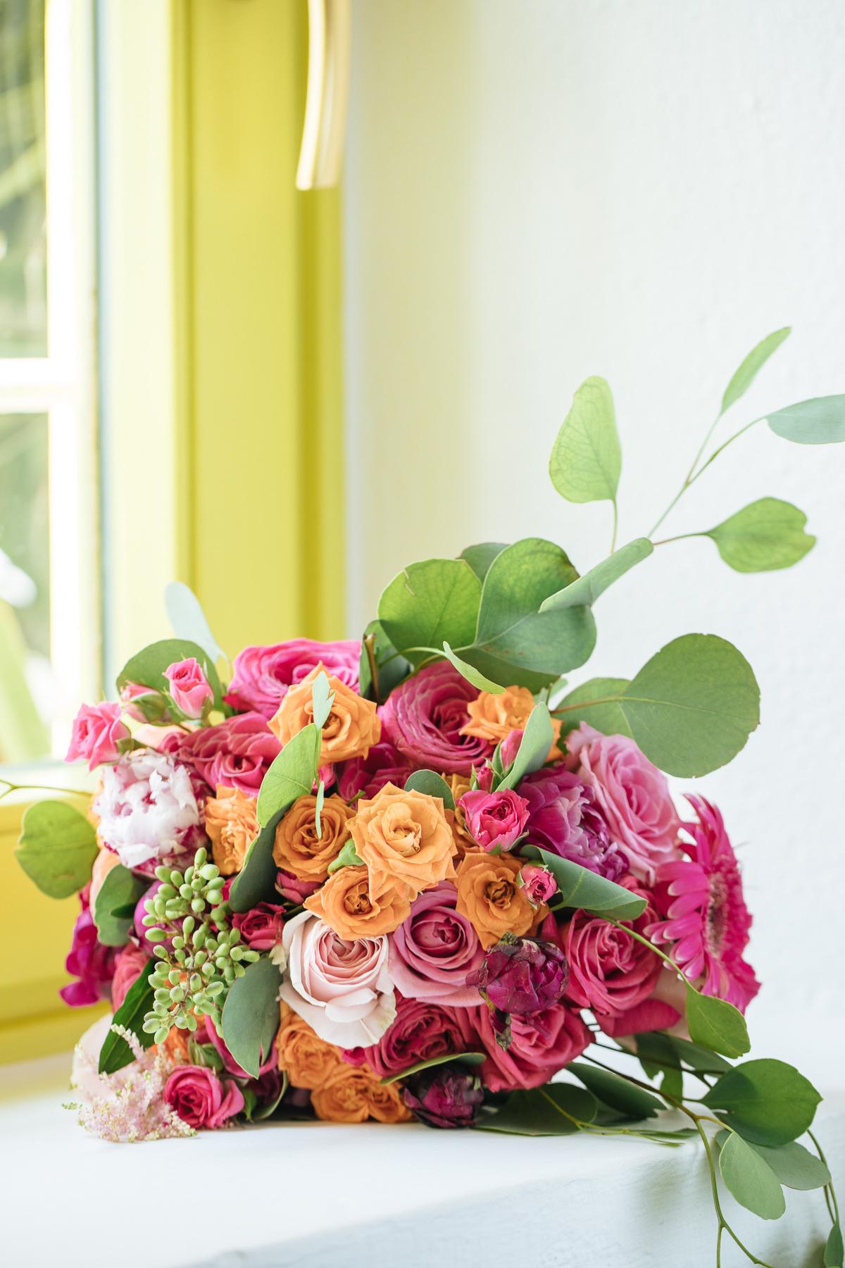 colorful wedding bouquet santorini