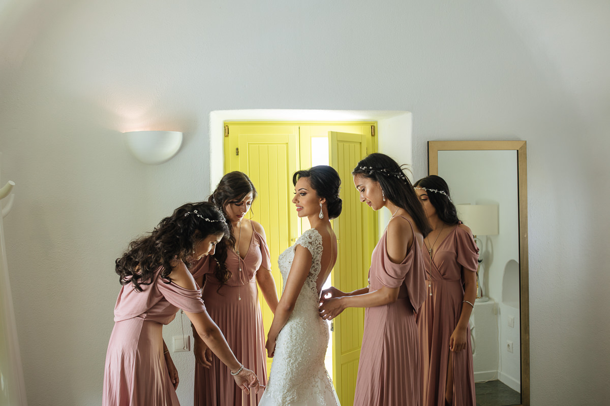 indian bride and bridesmaids santorini