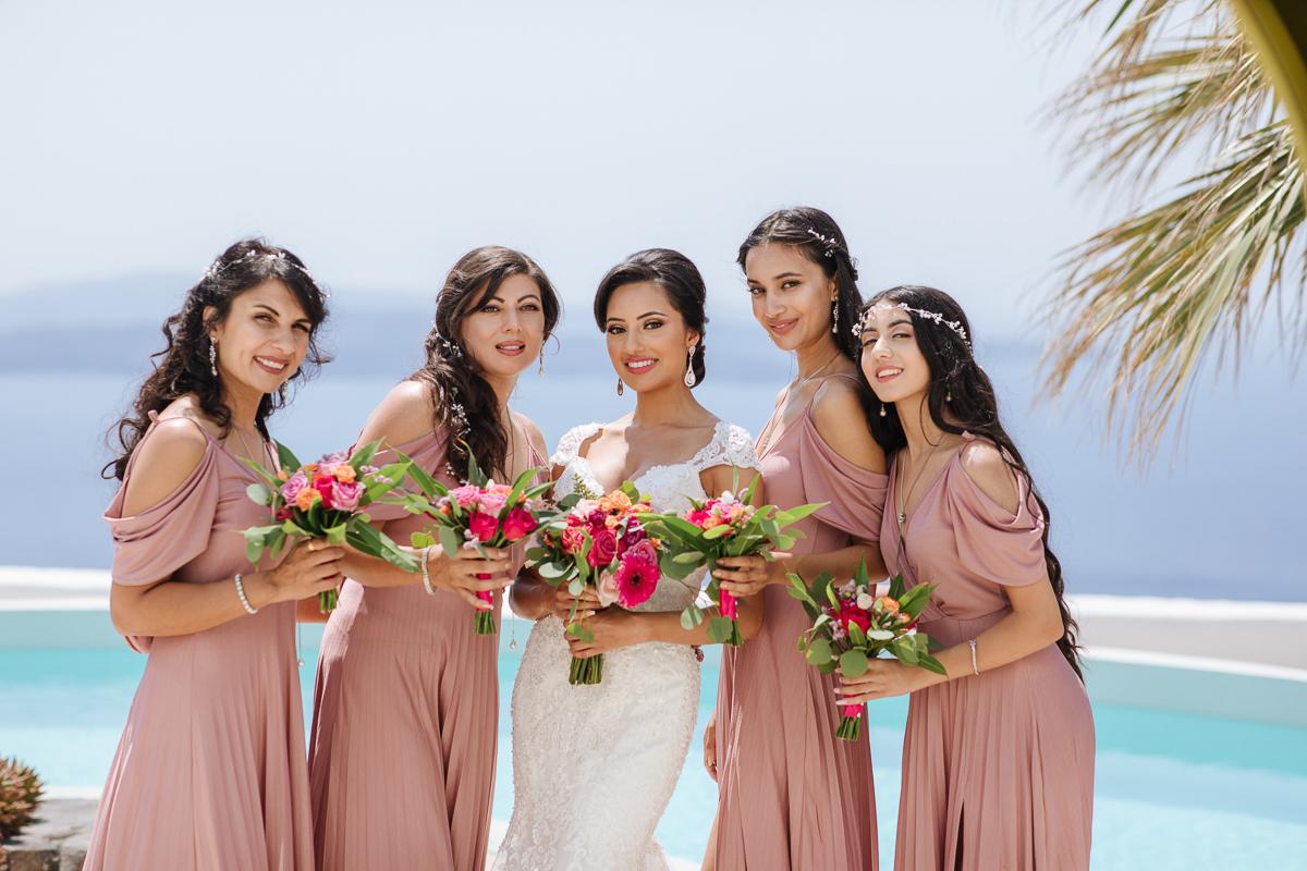 bride and bridesmaids santorini