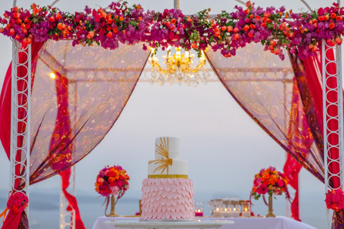 bougainvillea arch santorini wedding