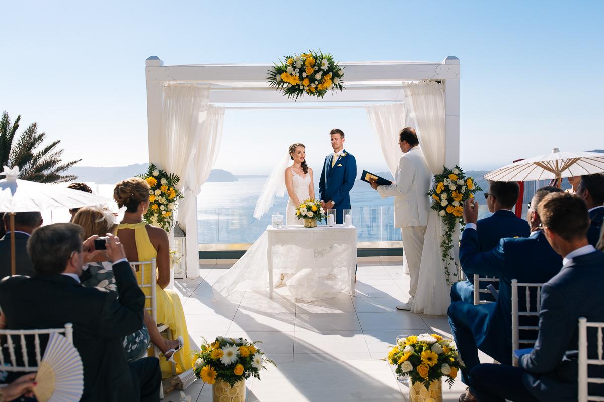 wedding in le ciel santorini wedding venue