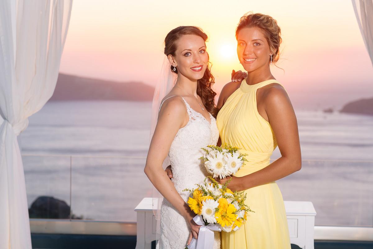 Wedding in Le Ciel Santorini sunset photos