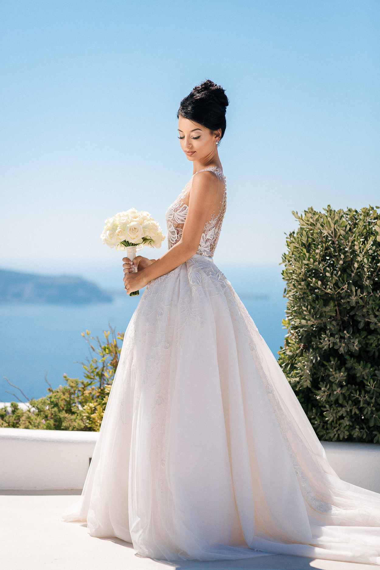 Santorini wedding paolo sebastian wedding dress