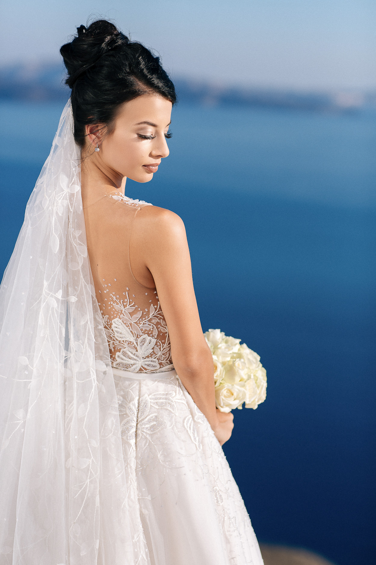 santorini wedding portraits