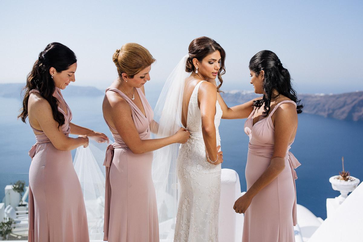 Santorini bridesmaids